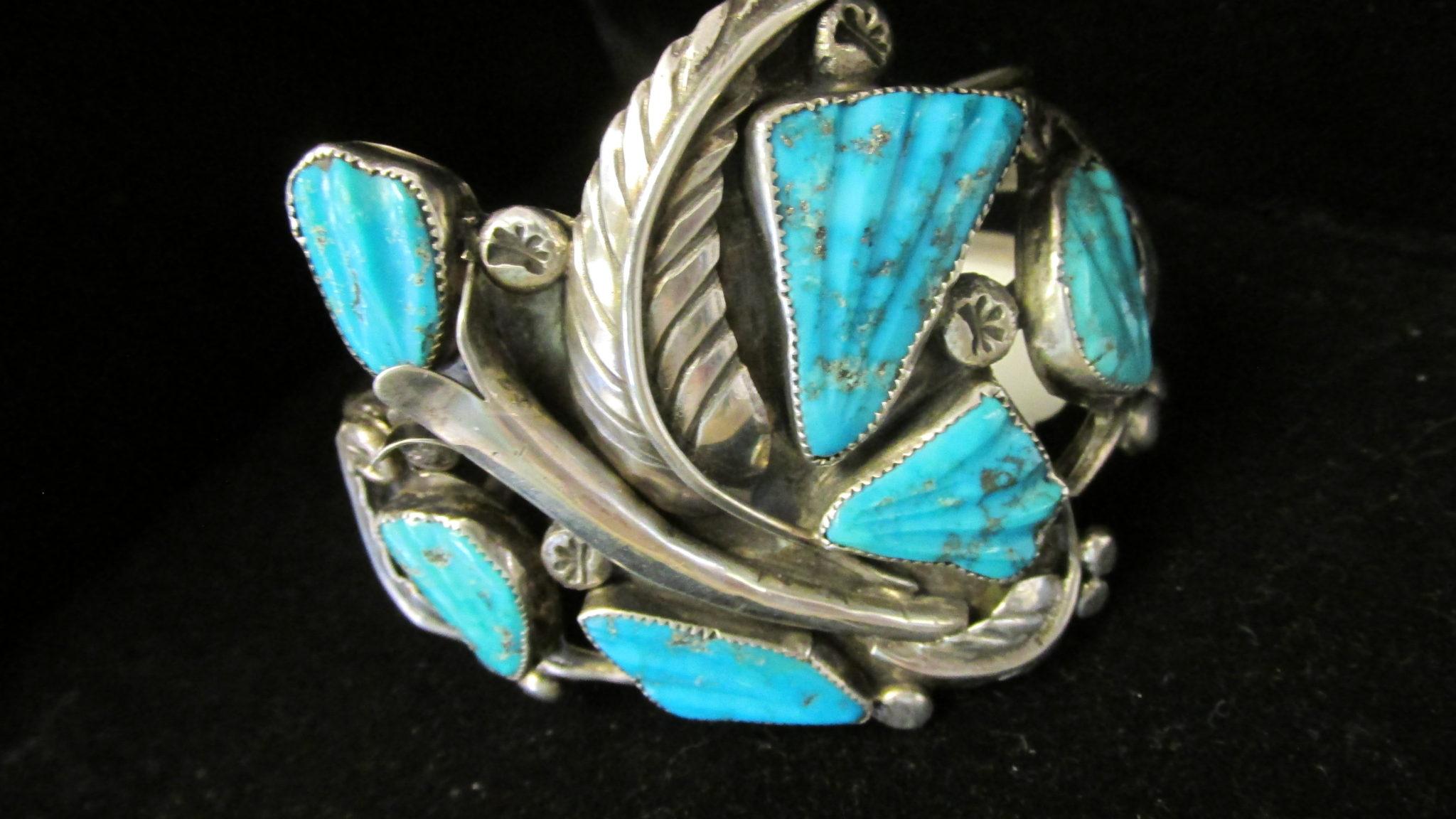 1970 vintage carved Morenci Turquoise bracelet.