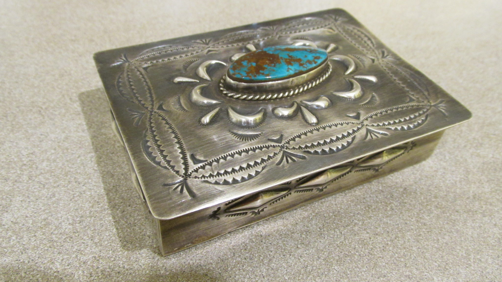 Dean Sandoval Navajo sterling silver box with turquoise accent