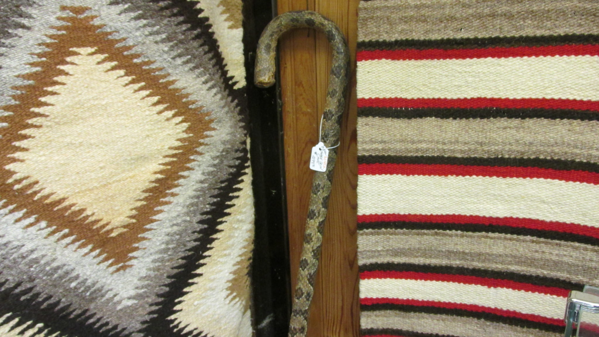 Snake skin cane next to the Navajo rug display