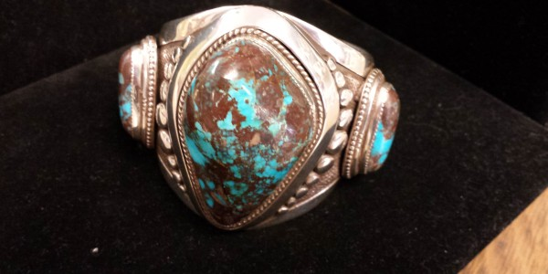 Bracelet by Michael Contreras with mammoth Bisbee Turquoise Cabochons.