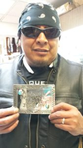 Tim Yazzie with commissioned plaque
