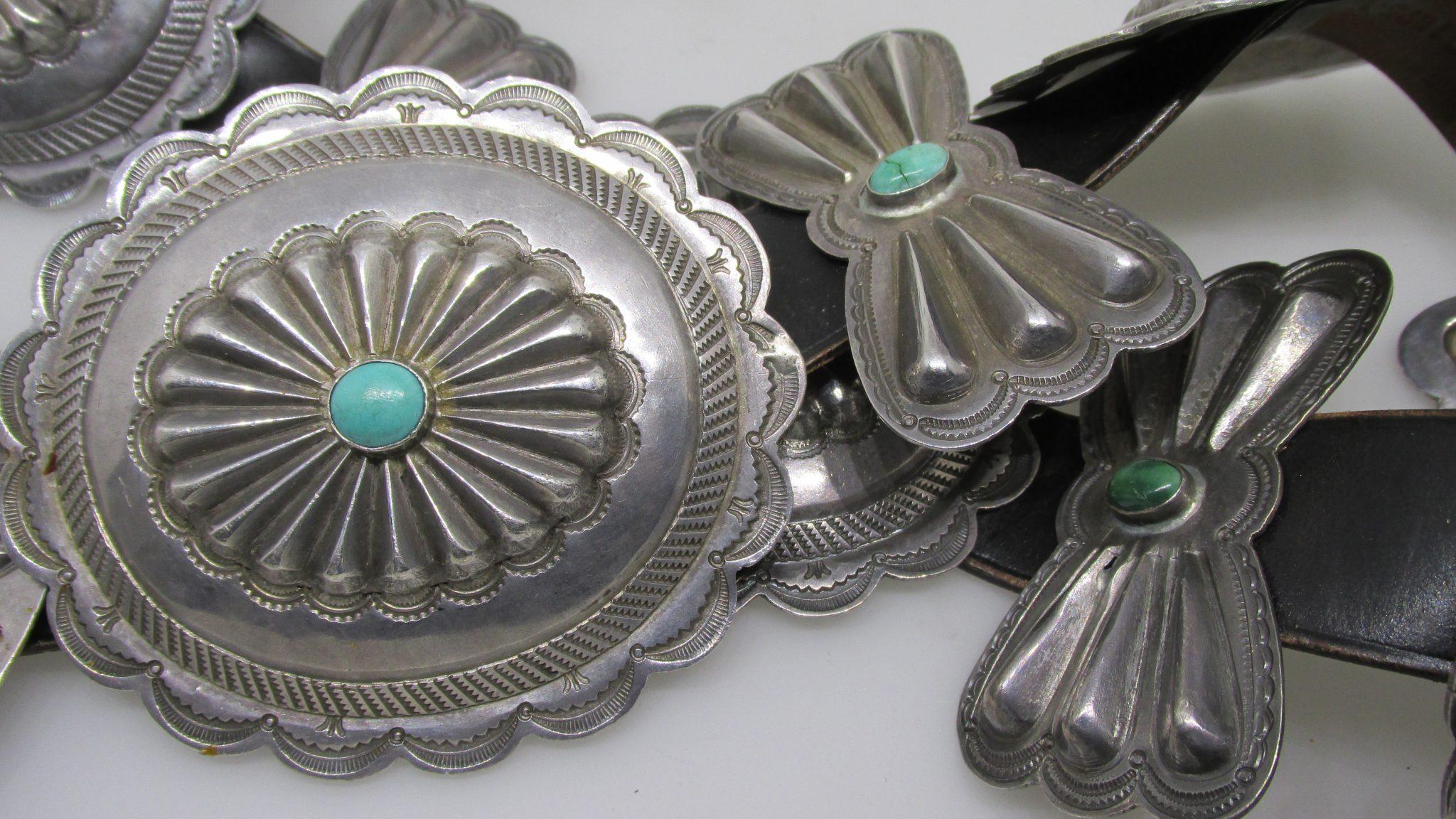 Heavy Sterling Silver Navajo Dine Concho Belt