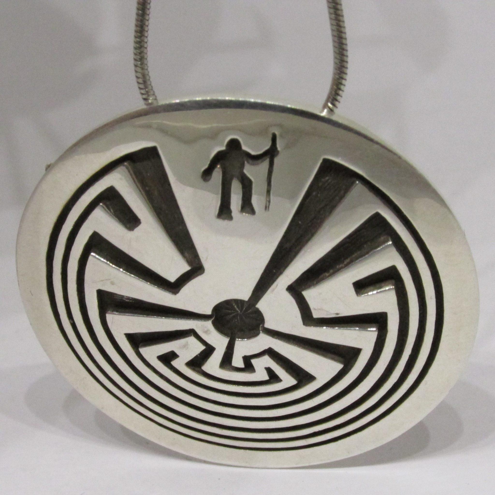 e1d573cc3846 Rick Manuel Tohono O'odham Man in the Maze Sterling Silver Pendant ...