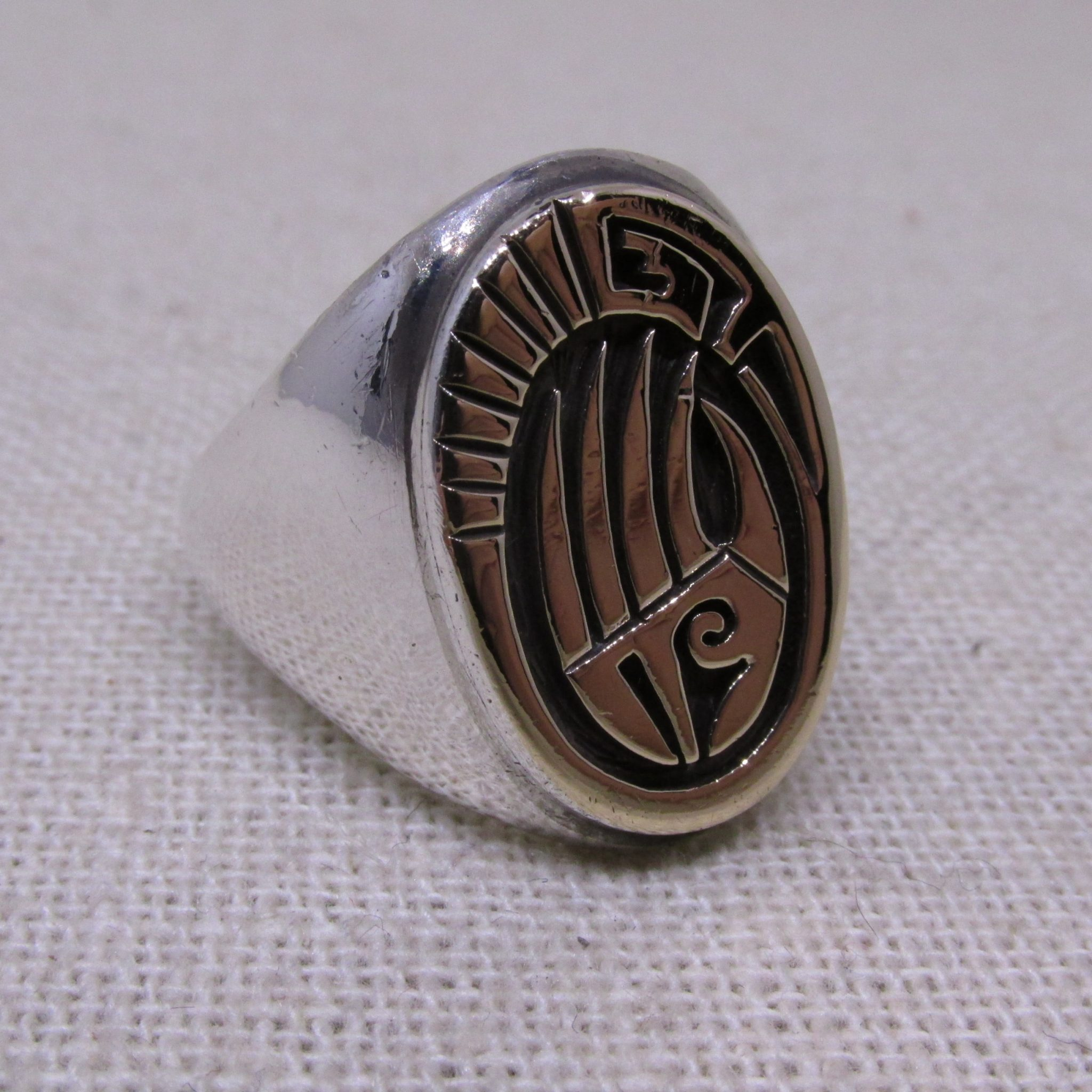 Calvin Peterson Navajo (Dine') Bear Claw Sterling Silver and 14kt. Gold Ring