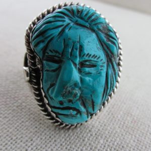 Francisco Gomez Spanish Carved Turquoise of Native American